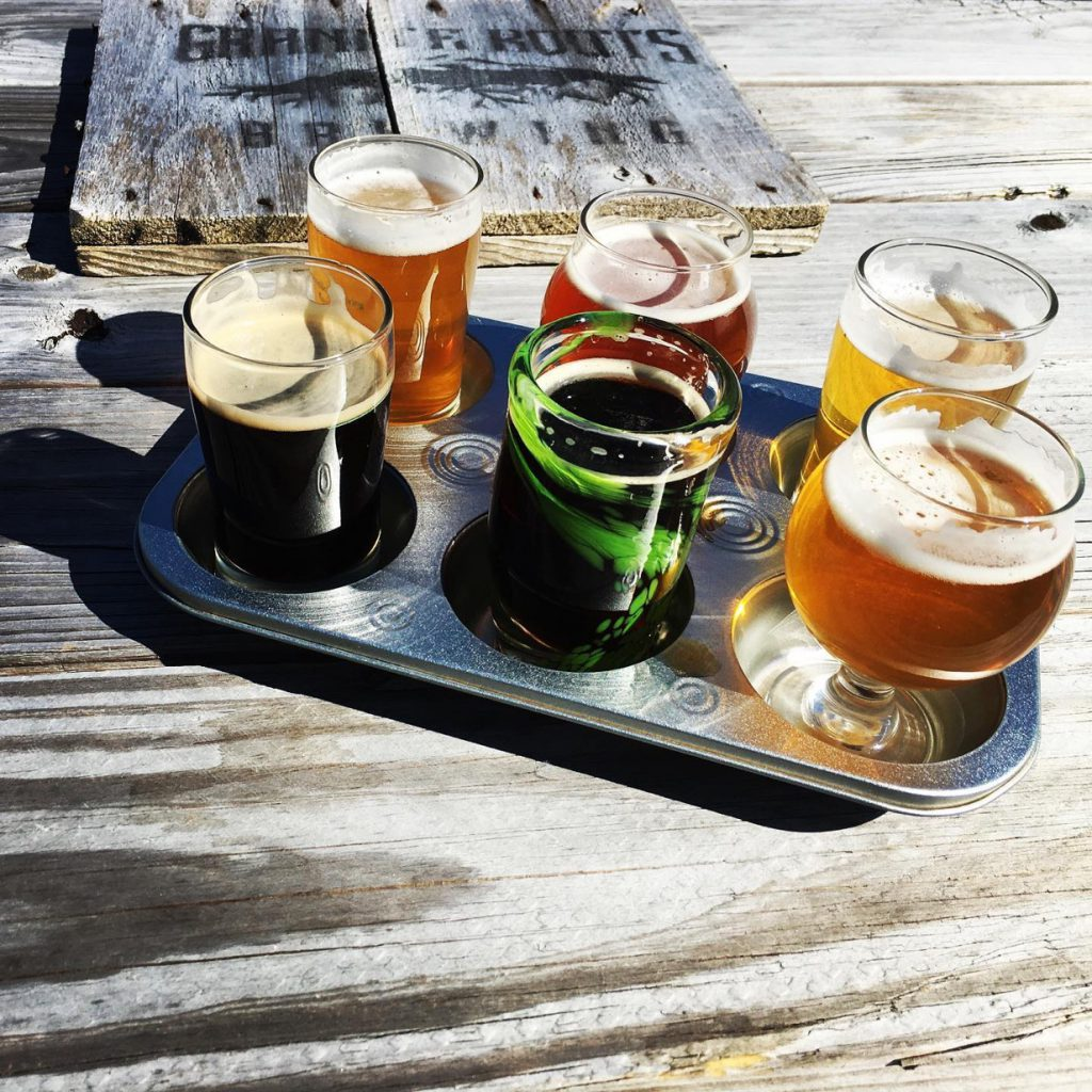 Flight of craft beers.